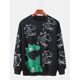 メンズ漫画恐竜プリントプルオーバー長袖かわいい綿のトレーナー