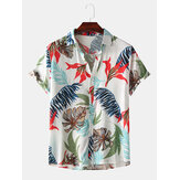 Erkekler Renk Blok Tropikal Bitki Yapraklar Baskı Turn Down Yaka Hawaii Tatil Kısa Kollu Gömlek