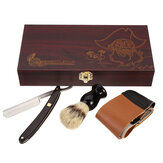 Barber Shaving Kit Set Straight Razor Shaving Brush Strop Wooden Box