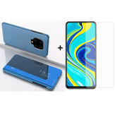 Bakeey 9H Anti-explosion Anti-scratch Tempered Glass Screen Protector + Skyblue Plating Mirror Window Shockproof Flip Full Cover Protective Case for Xiaomi Redmi Note 9s / Redmi Note 9 Pro / Redmi Note 9 Pro Max