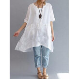Women Short Sleeve Loose Asymmetric Blouse