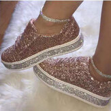 Women Glitter Fashion Lace Up Party Casual Shoes Flats