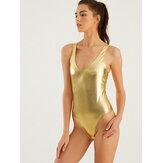 女性の金の反射ハイフォーク水着ホットOneピース