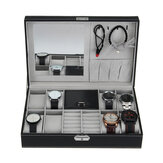 8 Slots PU Leather Lock Watch Storage Box with Mirror