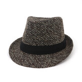 Mannen Winter Warm Voelde Wide Brimmed Jazz Fedora Hoed