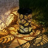 Vintage LED Solar Lantern Lights Garden Hanging Lamp Leaf Pattern Yard Decor