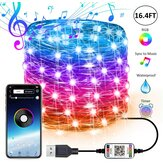 USB Fairy Lights LED String Lights Music Sync Bluetooth APP Phone Indoor Outdoor Twinkle Lights 32.8FT Hanging Curtain String Lights Color Changing Starry Lights