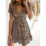 Leopard Print V-neck Short Sleeve Summer Holiday Casual Dress
