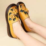 Genuine Leather Soft Soled Comfy Flower Flats Loafer