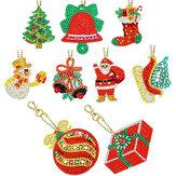 8 / 9PCS Chaveiro de Natal Pingente DIY Diamond Full Broca Conjunto de Chaveiro de Pintura Bolsa Ou Decoração de Telefone Presente de Natal