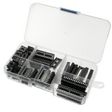 66pcs DIP IC Sockets Adaptador Solda Tipo Socket Kit 6/8/14/16/18/20/24/28 Pinos