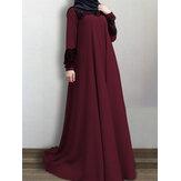 Femmes dentelle patchwork grande balançoire vintage o-cou décontracté à manches longues robe musulmane