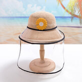 Chrysanthemum Straw Hat Children's Sun Hat Removable Face Screen