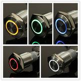 12 V 16mm Mandallama Melek Göz LED Push Button Anahtarı Düz Kafa Metal ışıklı Push Button Anahtarı