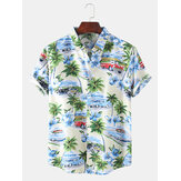 Original              Mens Designer Cartoon Coco Car Landscape Print Short Sleeve Hawaii Casual Shirts