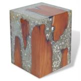 Unikalny stolik kawowy z drewna tekowego ręcznie robiony z akcentem do salonu