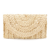 JOSEKO Women Summer Lovely Retro Straw Knitted Wallet Key Money Beach Long Bag Clutch