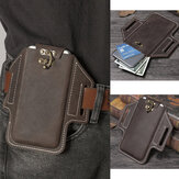 Men Genuine Leather EDC Bag Waist Pack 6.3 inch Phone Bag With Belt Loops