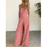 Women Casual Sleeveless Straps Plaid Wide Leg Side Buttons Jumpsuits With Pocket