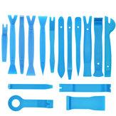 16Pcs Coche Estéreo Radio Desmontaje de molduras de panel de puerta herramienta Remoción herramienta Set Azul