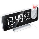 Alarma de espejo LED Reloj Pantalla grande Temperatura y humedad Pantalla con Radio y función de proyección de tiempo Electrónica Reloj Recargable