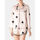 Women Polka Dot  Lapel Collar Pink Faux Silk Long Sleeve Loose Pajama Set