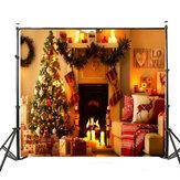 5x7ft Winylu Ciepłe światło Choinka kominek Stocking Fotografia Tło Studio
