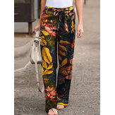 Retro Style High Elastic Waist Leaf Floral Print Pocket Vintage Pants With Belted