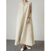 Women Summer Solid Color Vintage Casual Loose Sleeveless Maxi Dress