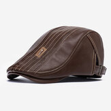Banggood Design PU Leather Solid Color Outdoor Keep Warm Forward Hat Beret Hat