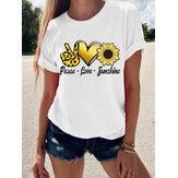 T-shirt a maniche corte per donna Collo con stampa floreale casual