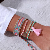 Bohemian Hand-woven Beaded Bracelet Tassel Diamond Multi-layer Bracelet