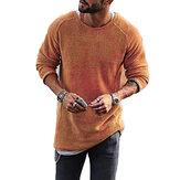 Moda hombre tejer color sólido o-cuello camisetas