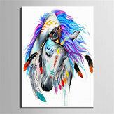 Ölgemälde nach Nummer Satz Indianer Pferd / Löwenmalerei DIY Acrylpigmentmalerei nach Zahlen Set Hand Craft Art Supplies Zufälliges Muster