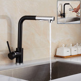 Modern Pull Out Spray Kitchen Sink Faucet Basin Mixer Tap 360° Rotate Single Hole Brass Black