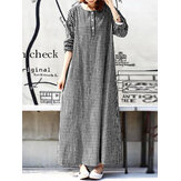 Women Casual Plaid Half Button Front Long Sleeve Maxi Dresses