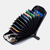 Unissex Couro Genuíno RFID Órgão de bloqueio Design Carteira de titular de cartão de couro Multi Card Solt