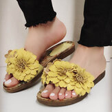 LOSTISY Women Flowers Decor Opened Toe Comfy Slide Sandals