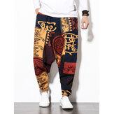 Erkek Pamuklu Keten Vintage Harem Pantolon Hip Hop Geniş Bacak Pantolon