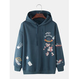 Herren Baumwolle Cartoon Print Langarm Drop Shoulder Hoodies