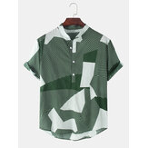 Coton Designer Stripe Stand Col Col Manches Courtes Hommes Casual Henley Shirts