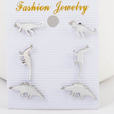 Cute Dinosaur Stud Earring Silver Gold Animal Ear Stud One Set of Sweet Earrings Jewelry for Women