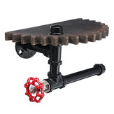 Retro Industrial Iron Pipe Bracket Toilet Paper Holder Roller Wood Gear Mounted Wall Shelf