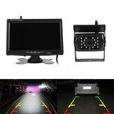7 Zoll TFT LCD Auto-Rückfahrmonitor mit PAL NTSC 120 ° Weitwinkel Nachtsicht LED Rückfahrkamera-Fernbedienung Satz