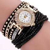 DUOYA Luxury Nation Style Crystal Gold Bransoletka Zegarek Ladies Vintage Kwarc Wirstwatches
