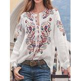 Ethnic Style Print Round Neck Long Sleeve Bohemia Button Blouse For Women