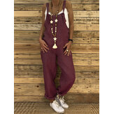 Women Casual Straps Solid Color Overalls Jumpsuit with Pocket
