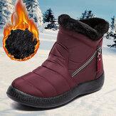 Botas de neve quentes antiderrapantes e impermeáveis com zíper feminino Soft