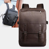 Vintage Faux Leather Anti-Theft  Backpack Business Bag For Men