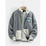 Mens Fleece Patched Contrast Stand Collar Casual Warm Jacket